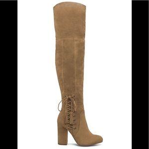 NWT Size 10 Shoe Dazzle Faux Suede Tan OTK Boots